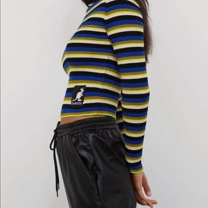 Kangol Striped Ribbed Turtle Kneck Top S